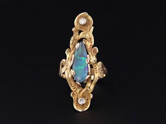 Boulder Opal Ring   10k Gold Ring   Statement Ring