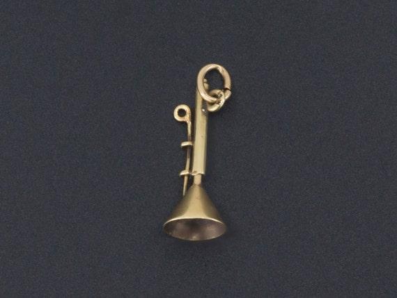 Trombone Charm | Moveable Charm | 14k Gold Charm |