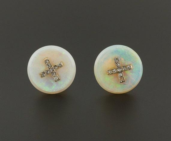 Opal Earrings | Opal & Diamond Earrings | Vintage