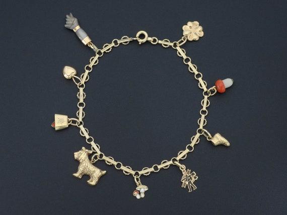 14k Gold Charm Bracelet   Assorted Charms Bracelet