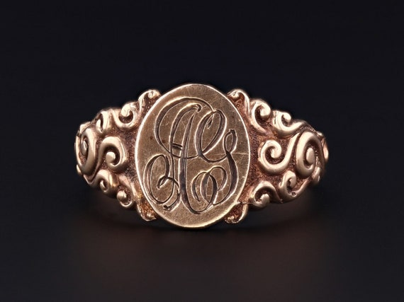 Antique Signet Ring | AG Initial Ring | 10k Gold R
