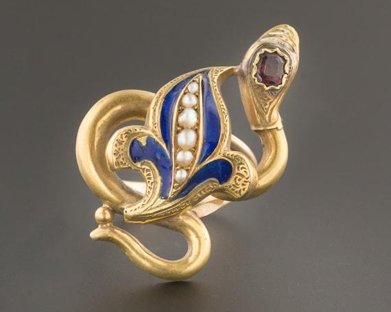 Snake Ring | Antique Snake Ring with Garnet Enamel