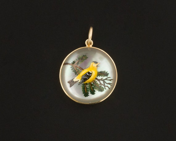 Yellow Finch Charm | Antique Revers Painted Crysta