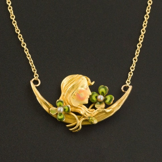 Art Nouveau Woman with Clovers Necklace | 14k Gold