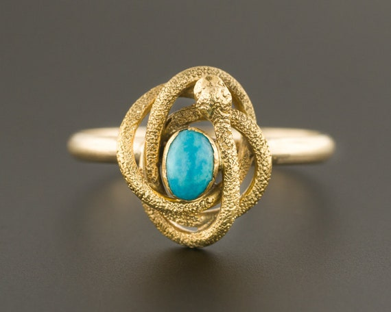 Turquoise Snake Ring | 14k Gold Snake Ring | Conve
