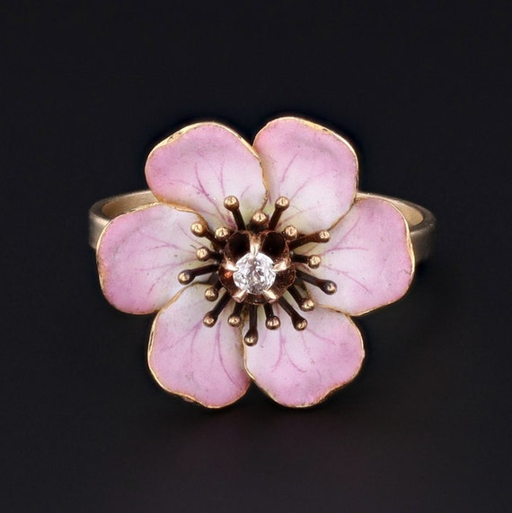 Flower Ring | Antique Pin Conversion | Enamel & Di