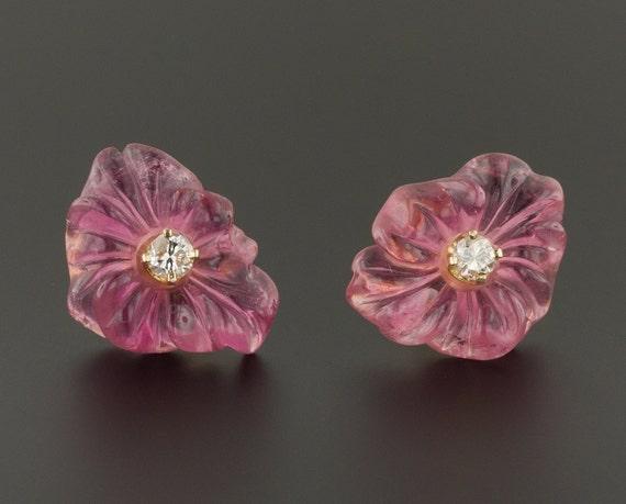 Vintage Pink Tourmaline Flower Earrings | 14k Gold
