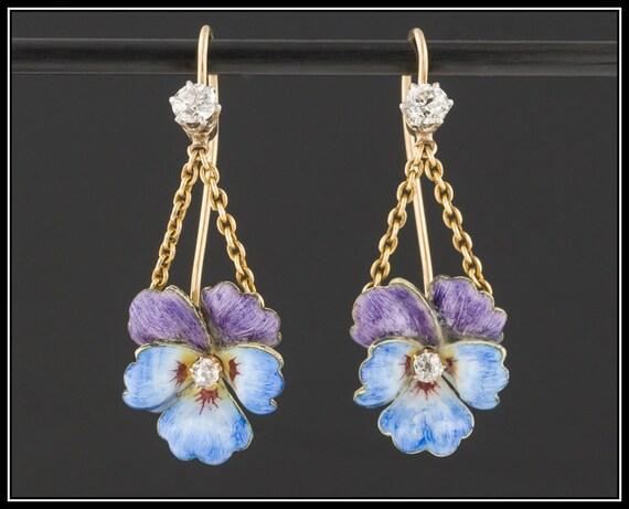 14k Gold & Enamel Pansy Earrings | Antique Convers