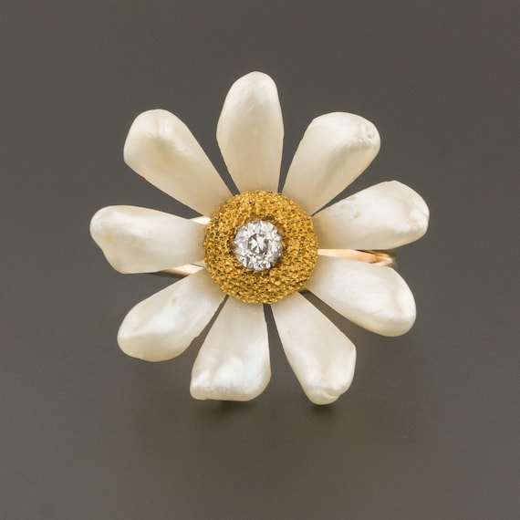 Pearl Flower Ring   Pearl & Diamond Flower Ring  