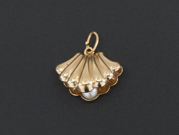 Shell Charm | Scallop Shell with Pearl Charm | 14k