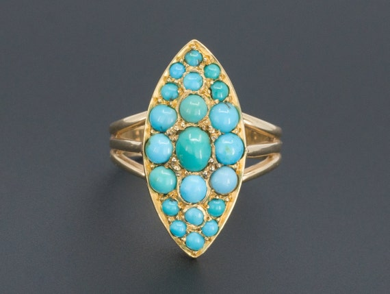 Turquoise Ring | Antique Turquoise Ring | 14k Gold