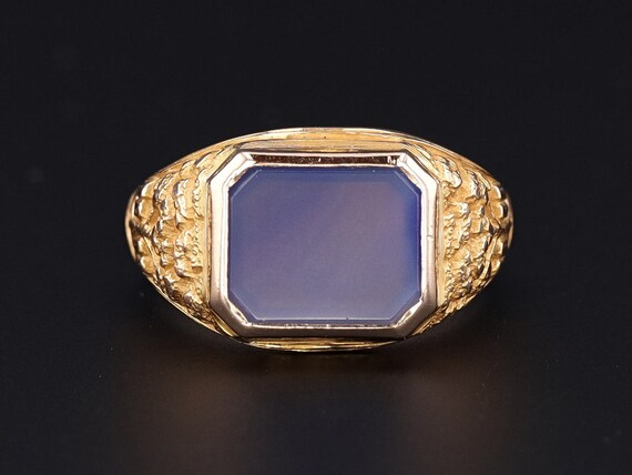 Chalcedony Ring | Vintage 10k Gold Tree of Life Ri