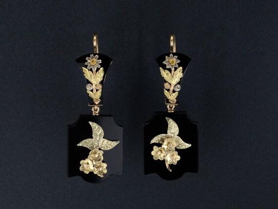 Antique Onyx Earrings | Antique Gold Flower Earrin