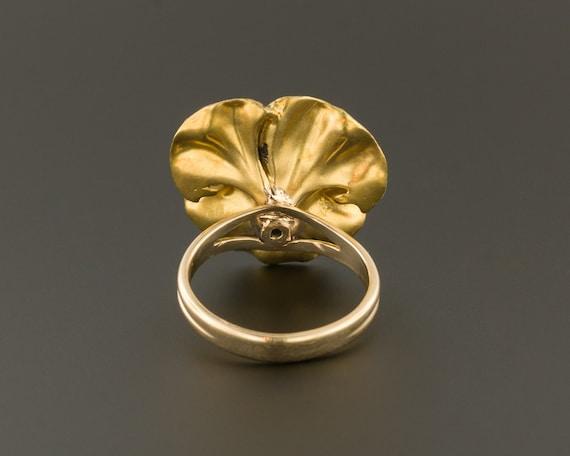 Pansy Ring | Antique Pansy Ring | 14k Gold Ring |… - image 4