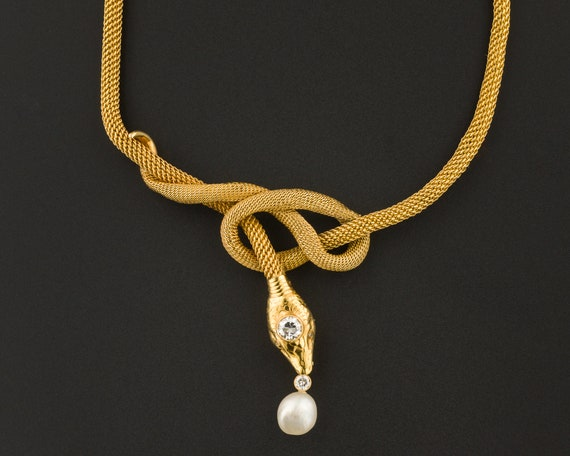 Vintage Snake Necklace | Diamond & Pearl Snake Nec