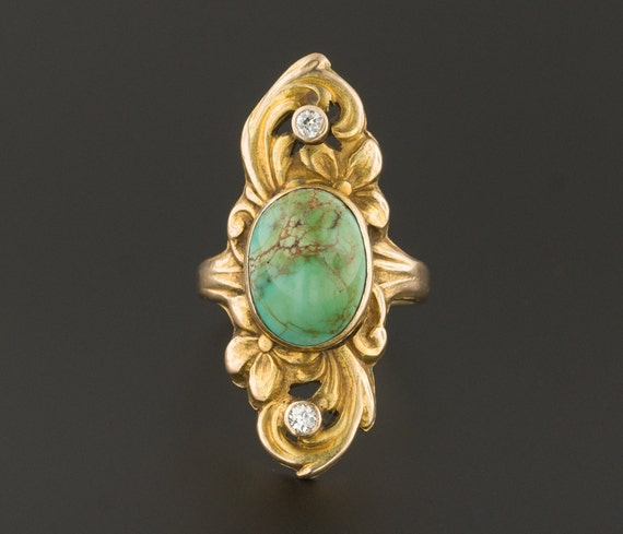 Antique Turquoise & Diamond Ring | Turquoise Ring