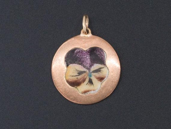 Pansy Pendant or Charm | 9ct Gold & Enamel Charm |