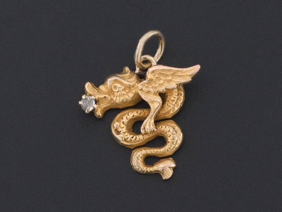 Dragon Charm | Antique Dragon Charm | 14k Gold Cha