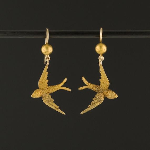 Gold Swallow Earrings | 14k Gold Swallow Bird Earr