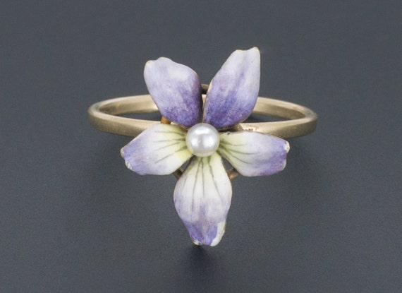 Enamel Violet Ring | 14k Gold Flower Ring | Antiqu
