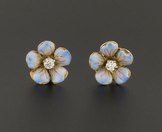 Blue Flower Earrings | Antique Flower Earrings | E