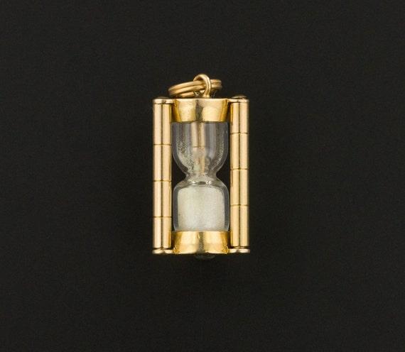 Vintage Hourglass Charm   14k Gold Charm   Sand Ho