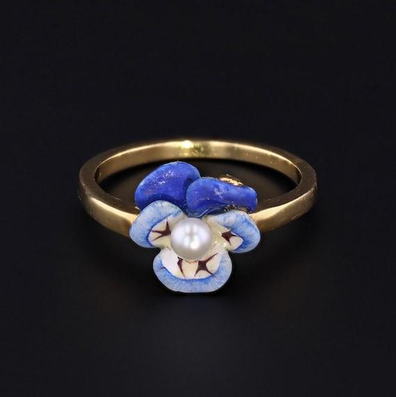 Enamel Pansy Ring by Larter & Sons   Enamel Flower