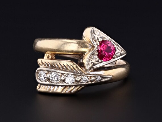 Arrow Ring   Vintage Arrow Ring   14k Gold Diamond