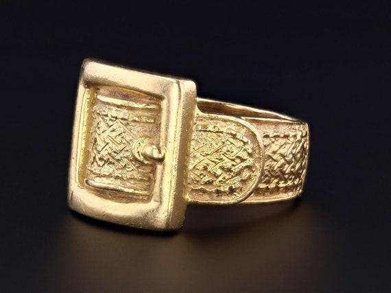 Vintage Buckle Ring | 18k Gold Buckle Ring | 18k G