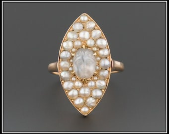 Antique Man In The Moon Ring | Victorian Moonstone Ring | Pearl & Carved Moonstone Ring | Antique Moonstone Ring