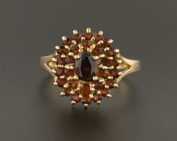 Garnet Cluster Ring | Antique Ring | 10k Gold Ring