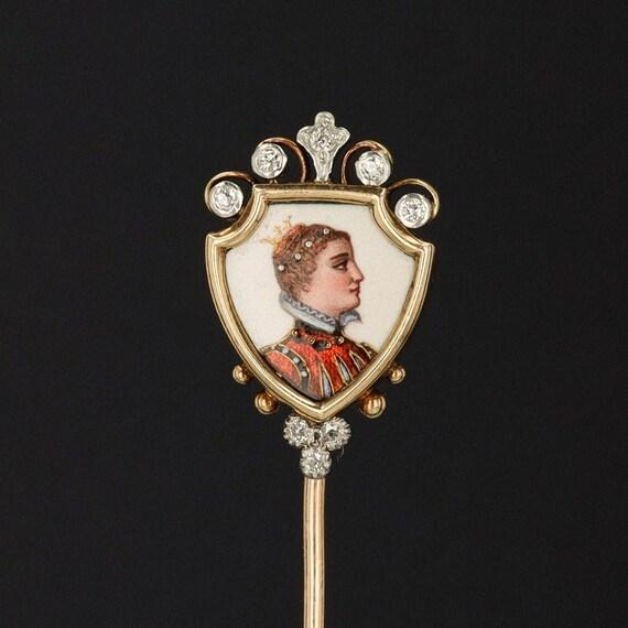 Antique Limoges Style Enamel Stick Pin | Antique S