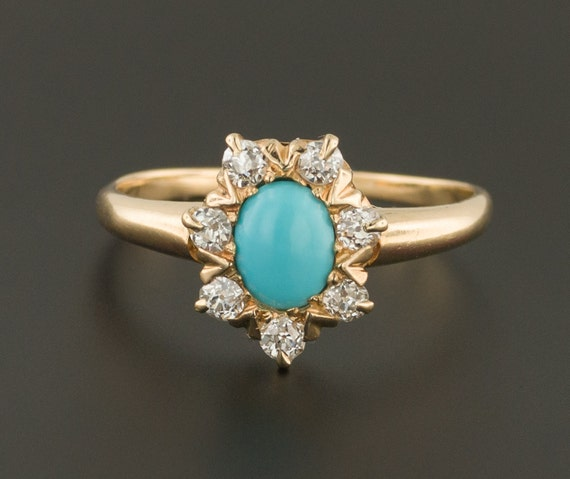 Antique Turquoise & Diamond Ring | 14k Gold Ring |