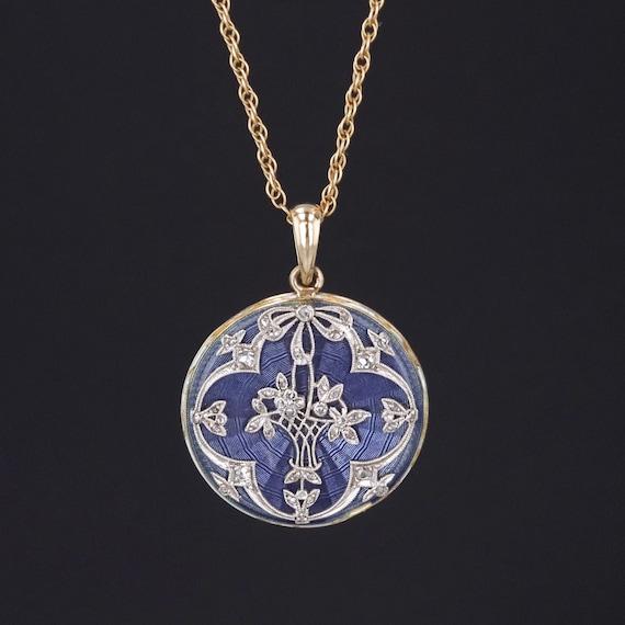 Antique Flower Basket Necklace | Diamond & Enamel