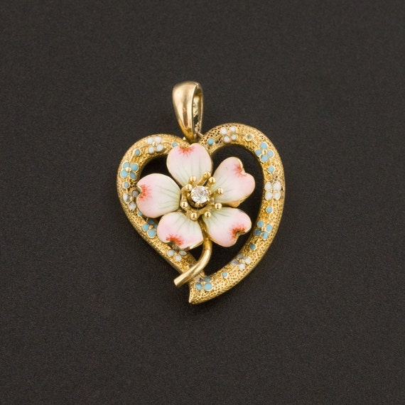 Dogwood Charm | Antique Dogwood Charm | Heart Char