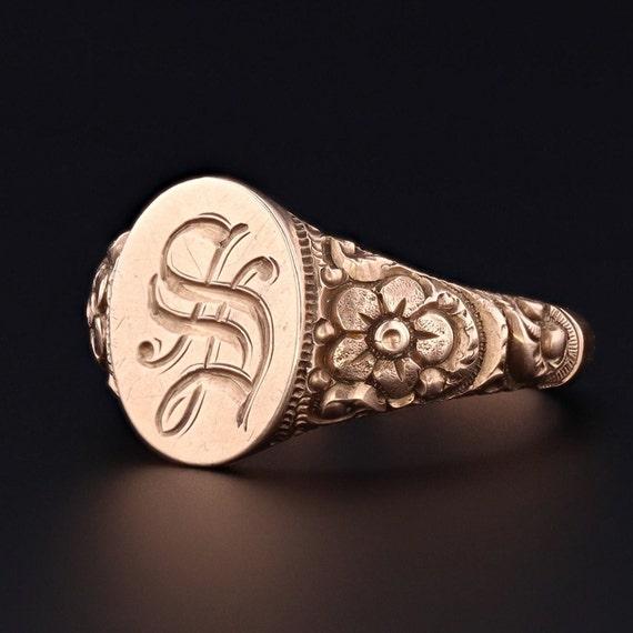 Antique Signet Ring | Letter S Initial Ring | 10k