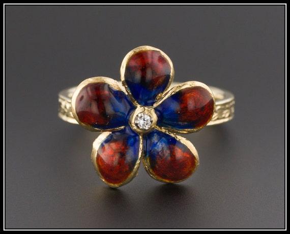 Enamel Flower Ring | 14k Gold Flower Ring | Vintag