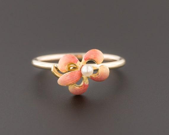 Iris Ring | 14k Gold Iris Ring | Antique Enamel Ir