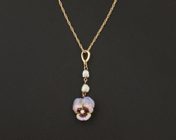 Antique Pansy Necklace | Diamond Pansy with Pearl