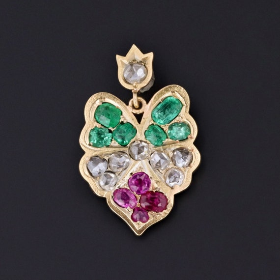 Antique Pansy Pendant | Ruby Emerald & Diamond Pan