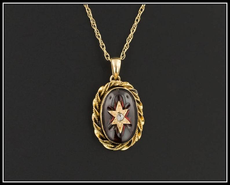 72b3555bf Garnet & Diamond Pendant Antique Pin Conversion Pendant   Etsy