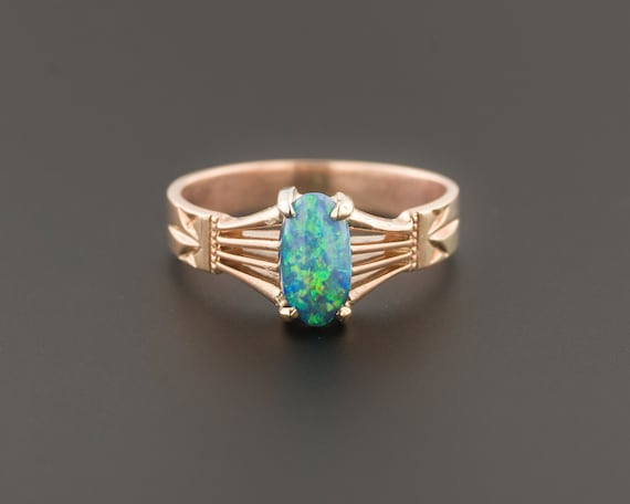 Black Opal Ring | 14k Gold Ring | Antique Ring | 1