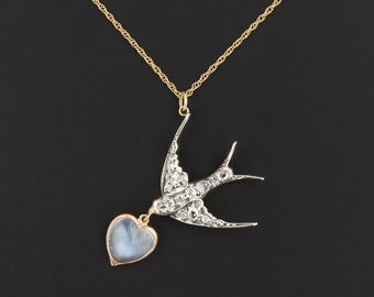 Diamond & Moonstone Swallow Necklace | Antique Pin Conversion Necklace | Silver topped 14k Gold Pendant on 14k Chain | Antique Bird Necklace