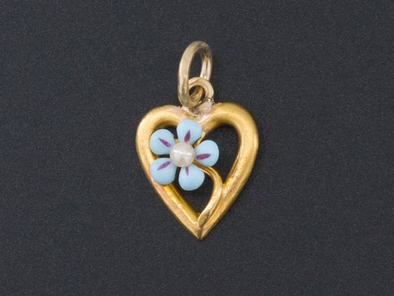 Forget-Me-Not Heart Charm   14k Gold Charm   14k G