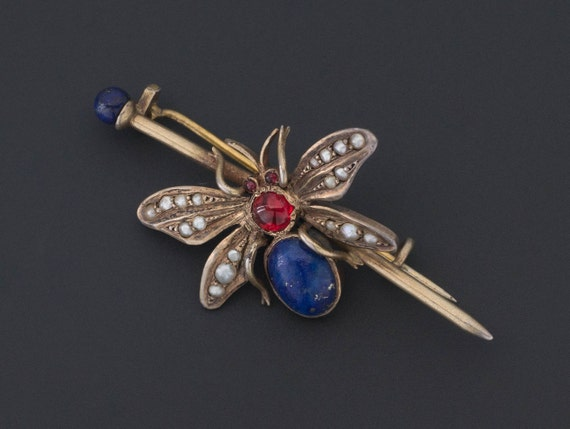 Antique Insect Pin | Antique Bug Brooch | Lapis In
