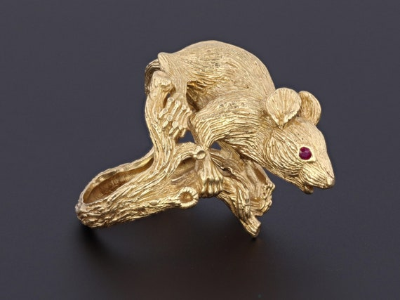 Rat Ring | 18k Gold & Ruby Rat Ring | Kurt Wayne R