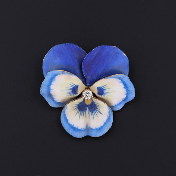 Blue Pansy Brooch | Vintage Enamel Flower Brooch |