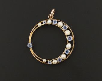 Crescent Moon Pendant | Antique Pin Conversion | Sapphire & Pearl Moon Pendant | 14k Gold Crescent Moon Pendant