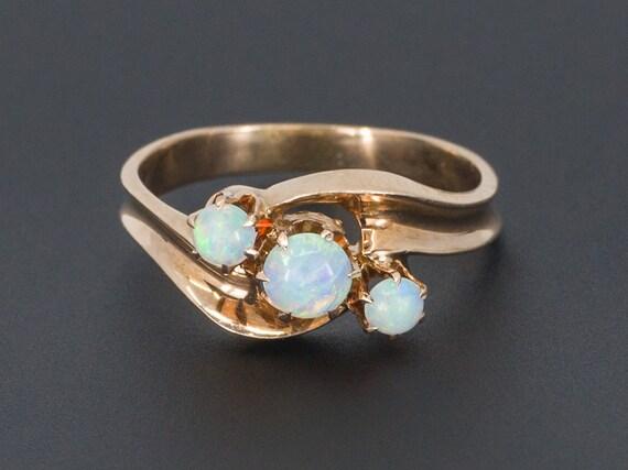 Opal Ring | 14k Opal Ring | Three Opal Ring | Anti