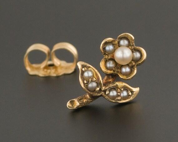 14k Gold & Pearl Flower Earring | Antique Stick Pi
